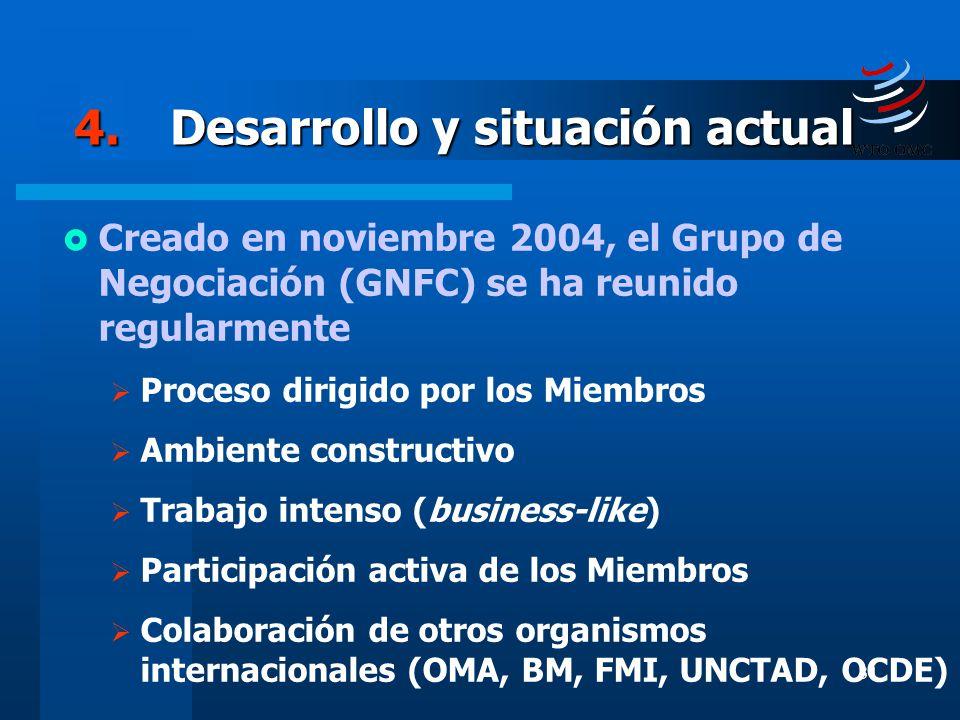 31 4.Desarrollo y situación actual Creado en noviembre 2004, el Grupo de Negociación (GNFC) se ha reunido regularmente Proceso dirigido por los Miembr