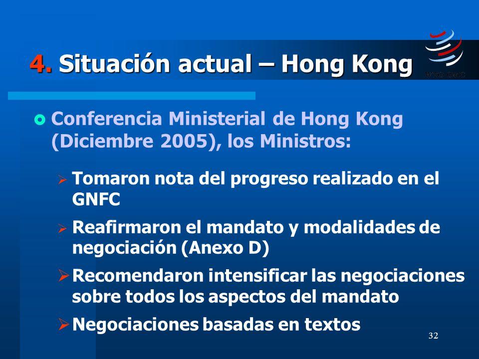 32 4. Situación actual – Hong Kong Conferencia Ministerial de Hong Kong (Diciembre 2005), los Ministros: Tomaron nota del progreso realizado en el GNF