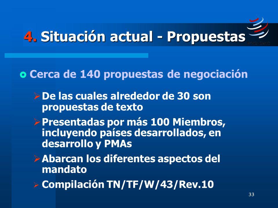 33 4. Situación actual - Propuestas Cerca de 140 propuestas de negociación De las cuales alrededor de 30 son propuestas de texto Presentadas por más 1
