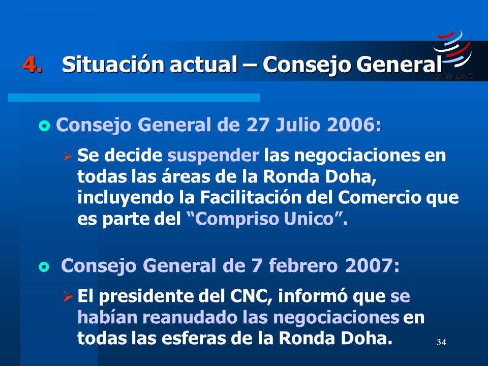 34 4. Situación actual – Consejo General Consejo General de 27 Julio 2006: Se decide suspender las negociaciones en todas las áreas de la Ronda Doha,
