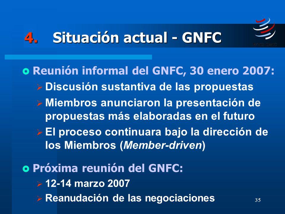 35 4.Situación actual - GNFC Reunión informal del GNFC, 30 enero 2007: Discusión sustantiva de las propuestas Miembros anunciaron la presentación de p