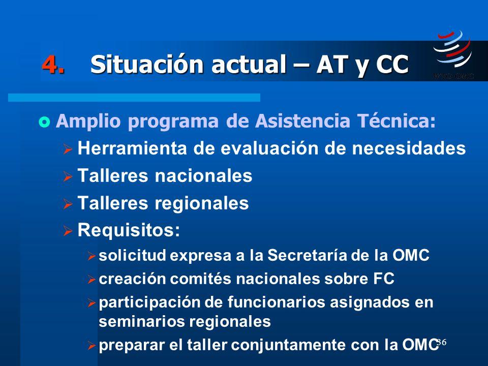 36 4.Situación actual – AT y CC Amplio programa de Asistencia Técnica: Herramienta de evaluación de necesidades Talleres nacionales Talleres regionale