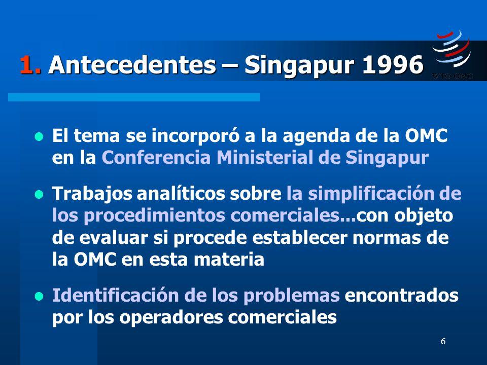 6 1. Antecedentes – Singapur 1996 El tema se incorporó a la agenda de la OMC en la Conferencia Ministerial de Singapur Trabajos analíticos sobre la si