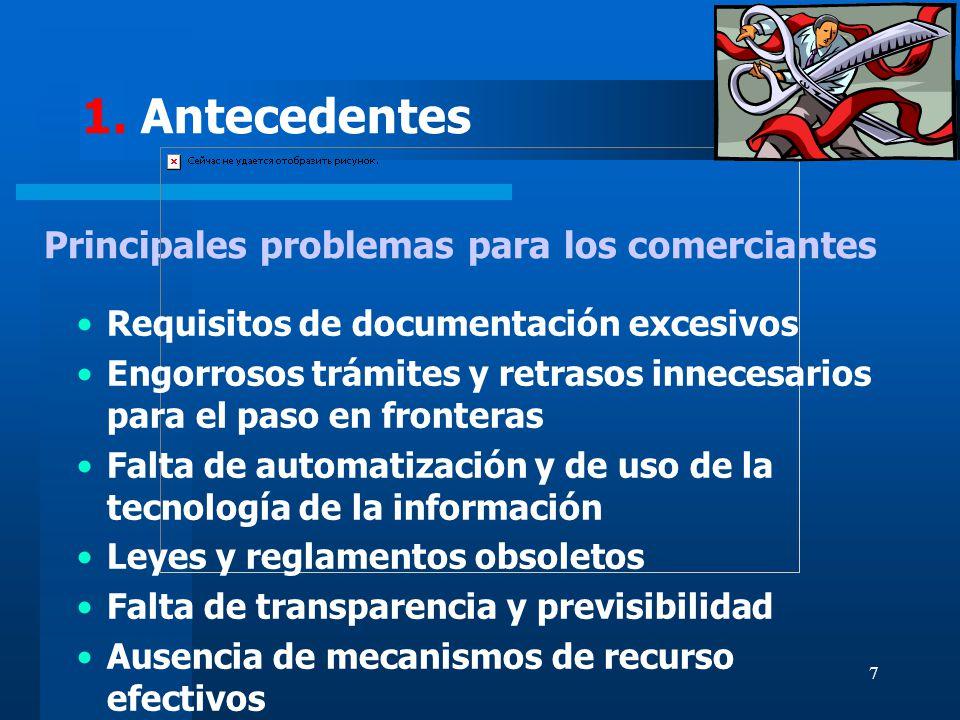 7 Principales problemas para los comerciantes Requisitos de documentación excesivos Engorrosos trámites y retrasos innecesarios para el paso en fronte