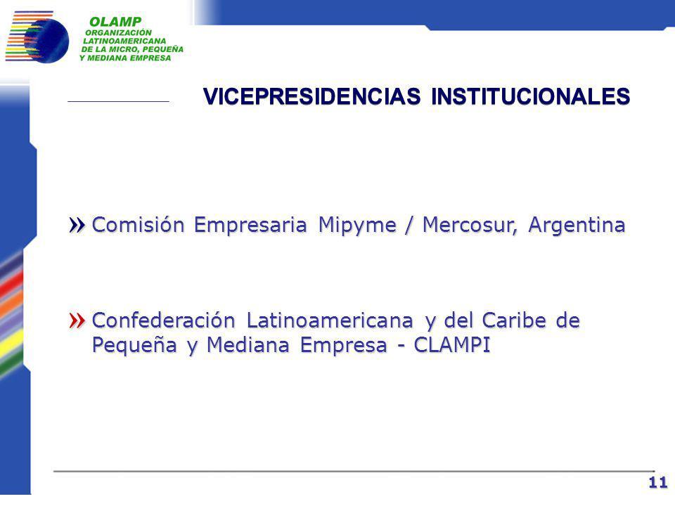 VICEPRESIDENCIAS NACIONALES Sector Privado Asociación Colombiana de Medianas y Pequeñas Industrias – ACOPI, Colombia Cámara Nacional de la Producción y el Emprendimiento – CANPRODEM, Perú Federación Nacional de Cámaras de la Pequeña Industria del Ecuador - FENAPI »» » 10