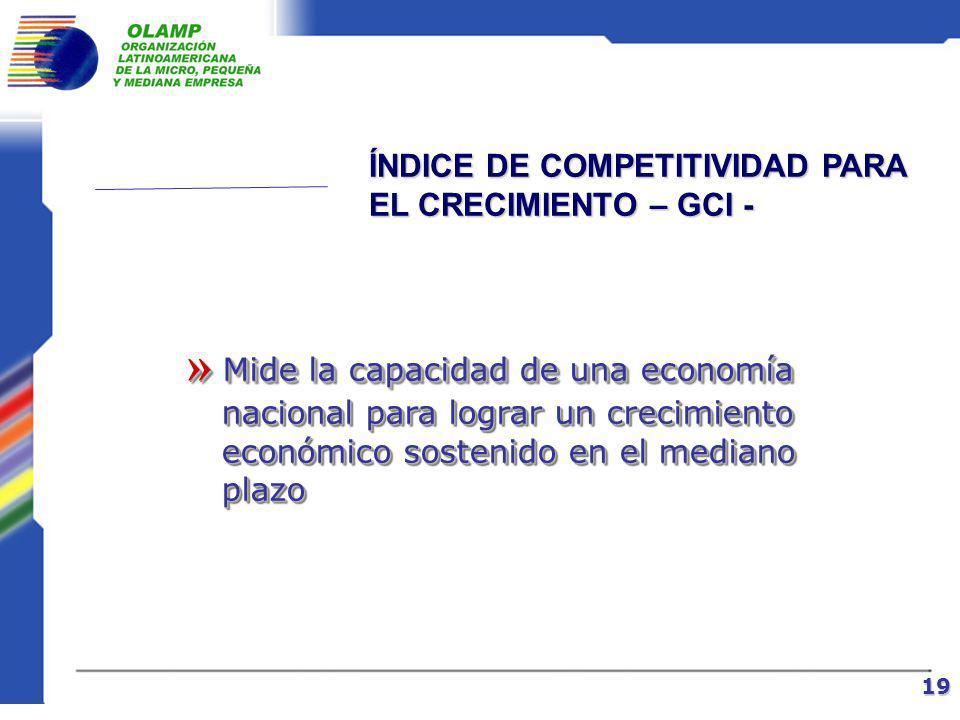 INFORME DE COMPETITIVIDAD GLOBAL DEL FORO ECONÓMICO MUNDIAL 18 Emplea dos tipos de enfoques complementarios para el análisis Emplea dos tipos de enfoques complementarios para el análisis de la competitividad: de la competitividad: 1)Índice de competitividad para el crecimiento – GCI – 2)Índice de competitividad para los negocios – BCI – – BCI –