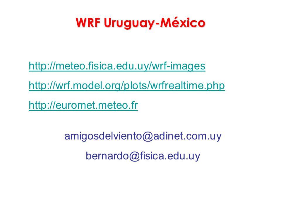 WRF Uruguay-México http://meteo.fisica.edu.uy/wrf-images http://wrf.model.org/plots/wrfrealtime.php http://euromet.meteo.fr amigosdelviento@adinet.com