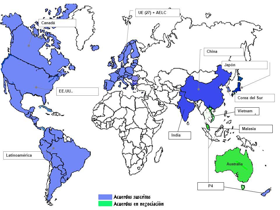 Canadá EE.UU.. Latinoamérica UE (27) + AELC Corea del Sur China Japón India P4 Australia Malasia Vietnam