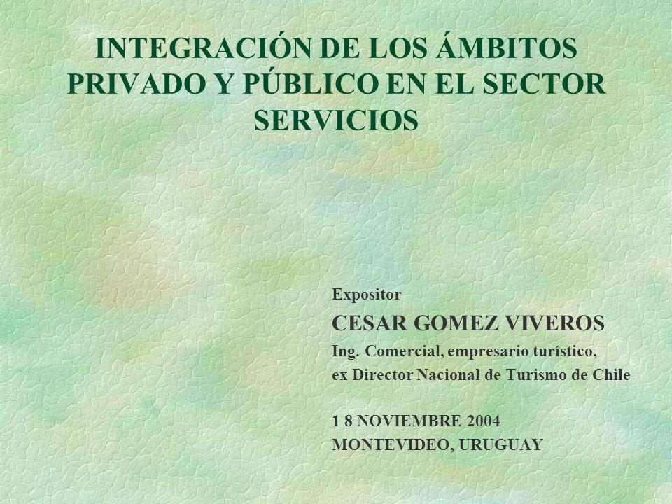 INTEGRACIÓN DE LOS ÁMBITOS PRIVADO Y PÚBLICO EN EL SECTOR SERVICIOS Expositor CESAR GOMEZ VIVEROS Ing.