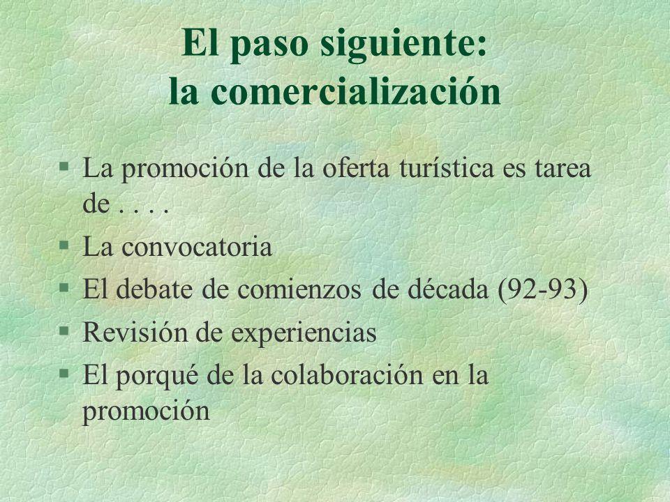 El paso siguiente: la comercialización §La promoción de la oferta turística es tarea de....