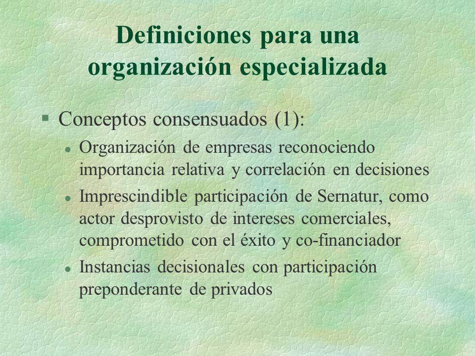 Definiciones para una organización especializada §Conceptos consensuados (1): l Organización de empresas reconociendo importancia relativa y correlación en decisiones l Imprescindible participación de Sernatur, como actor desprovisto de intereses comerciales, comprometido con el éxito y co-financiador l Instancias decisionales con participación preponderante de privados