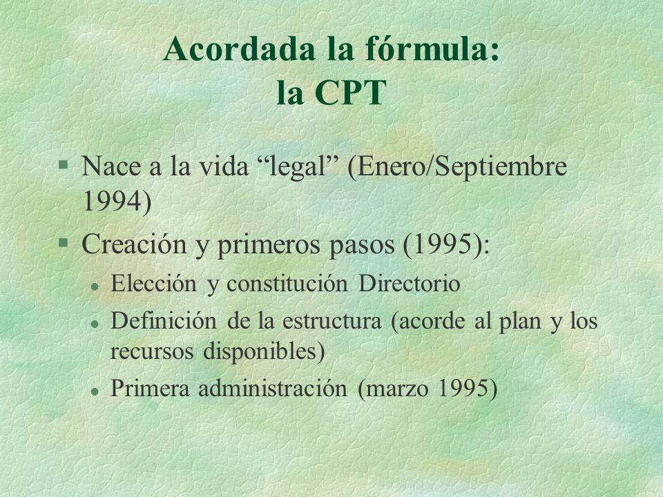 Acordada la fórmula: la CPT §Nace a la vida legal (Enero/Septiembre 1994) §Creación y primeros pasos (1995): l Elección y constitución Directorio l Definición de la estructura (acorde al plan y los recursos disponibles) l Primera administración (marzo 1995)