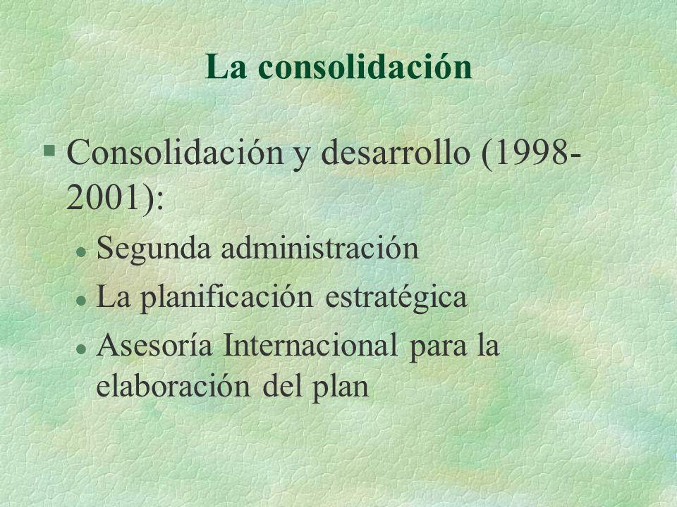 La consolidación §Consolidación y desarrollo (1998- 2001): l Segunda administración l La planificación estratégica l Asesoría Internacional para la elaboración del plan