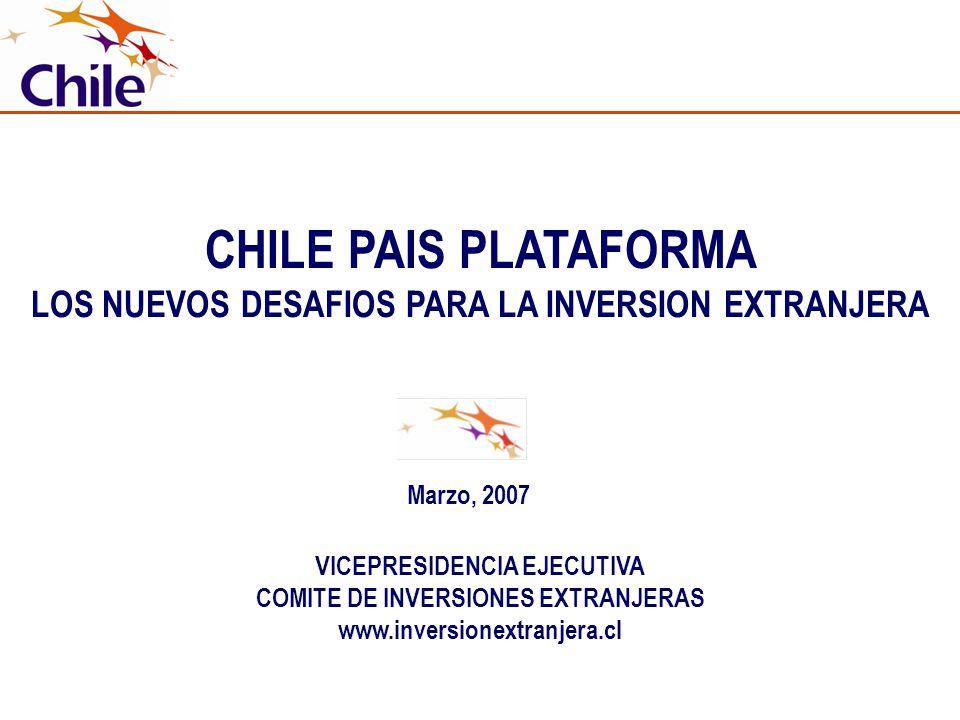 CHILE PAIS PLATAFORMA LOS NUEVOS DESAFIOS PARA LA INVERSION EXTRANJERA VICEPRESIDENCIA EJECUTIVA COMITE DE INVERSIONES EXTRANJERAS www.inversionextran