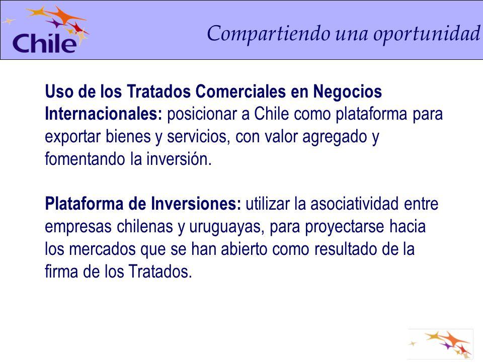 Compartiendo una oportunidad Uso de los Tratados Comerciales en Negocios Internacionales: posicionar a Chile como plataforma para exportar bienes y se