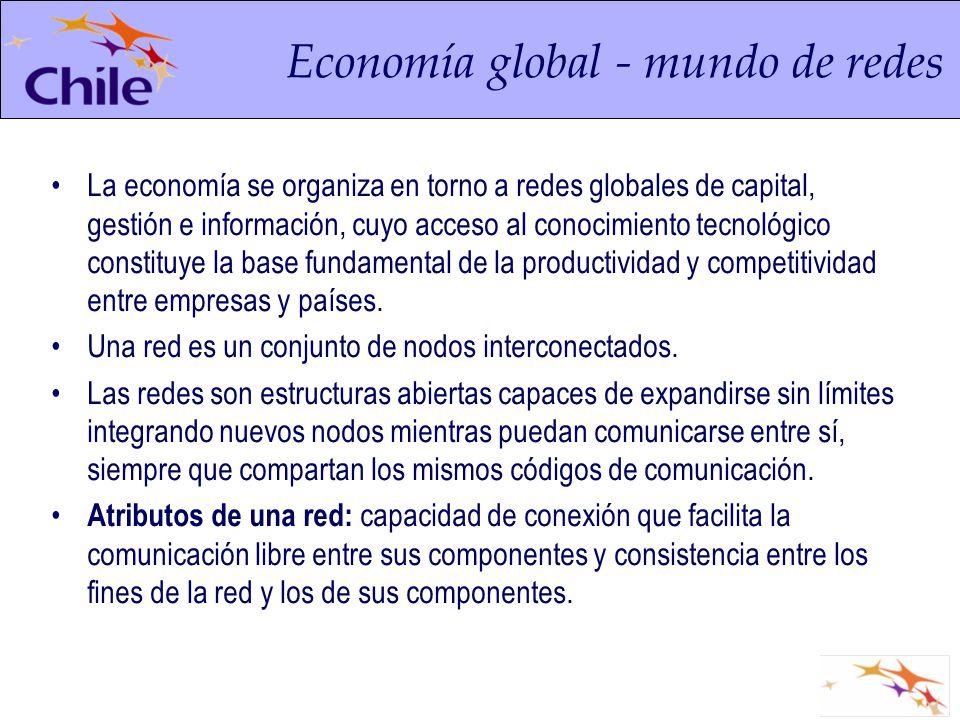 La economía se organiza en torno a redes globales de capital, gestión e información, cuyo acceso al conocimiento tecnológico constituye la base fundam