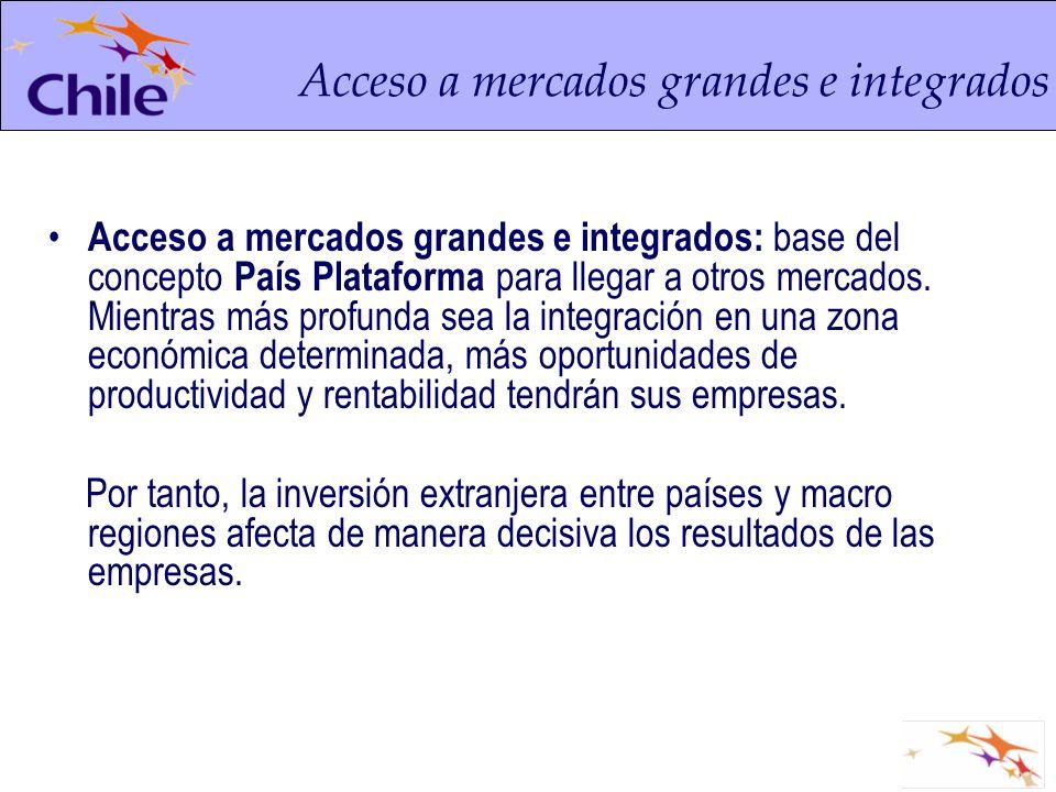 Acceso a mercados grandes e integrados: base del concepto País Plataforma para llegar a otros mercados. Mientras más profunda sea la integración en un