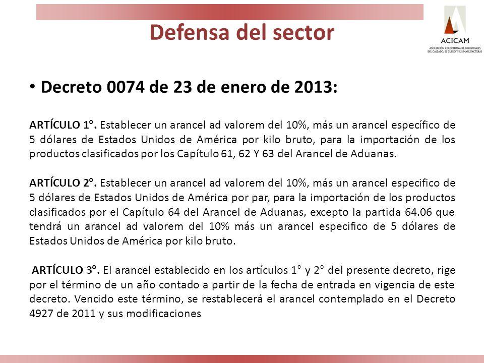 Defensa del sector Decreto 0074 de 23 de enero de 2013: ARTÍCULO 1°. Establecer un arancel ad valorem del 10%, más un arancel específico de 5 dólares