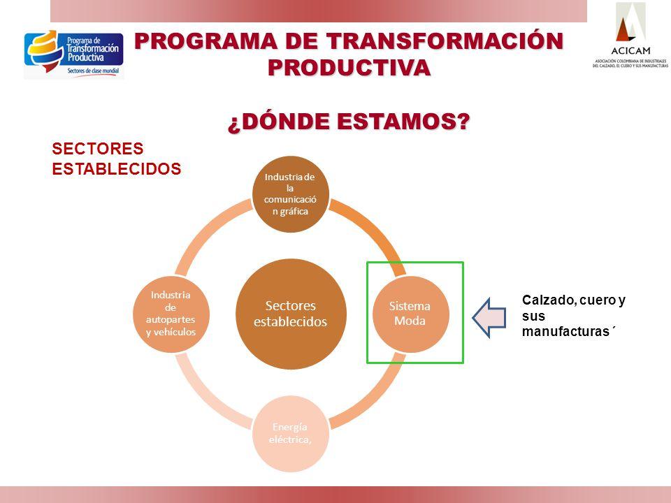 PROGRAMA DE TRANSFORMACIÓN PRODUCTIVA ¿DÓNDE ESTAMOS? Sectores establecidos Industria de la comunicació n gráfica Sistema Moda Energía eléctrica, Indu