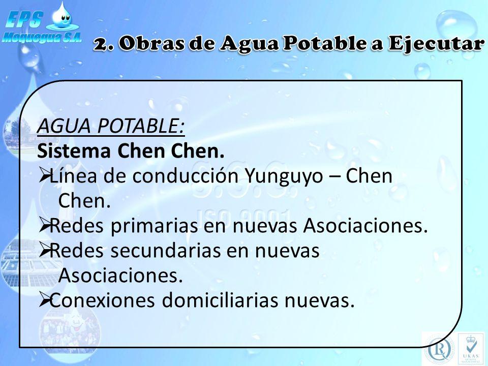 AGUA POTABLE: Sistema Chen Chen. Línea de conducción Yunguyo – Chen Chen. Redes primarias en nuevas Asociaciones. Redes secundarias en nuevas Asociaci