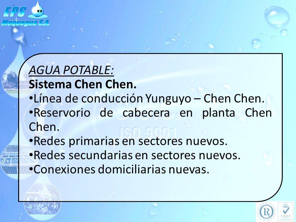 AGUA POTABLE: Sistema Chen Chen. Línea de conducción Yunguyo – Chen Chen. Reservorio de cabecera en planta Chen Chen. Redes primarias en sectores nuev