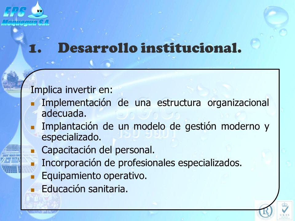 1.Desarrollo institucional. Implica invertir en: Implementación de una estructura organizacional adecuada. Implantación de un modelo de gestión modern