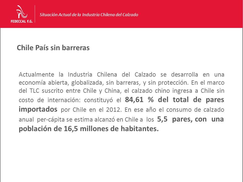 Chile País sin barreras Situación Actual de la Industria Chilena del Calzado Actualmente la Industria Chilena del Calzado se desarrolla en una economía abierta, globalizada, sin barreras, y sin protección.