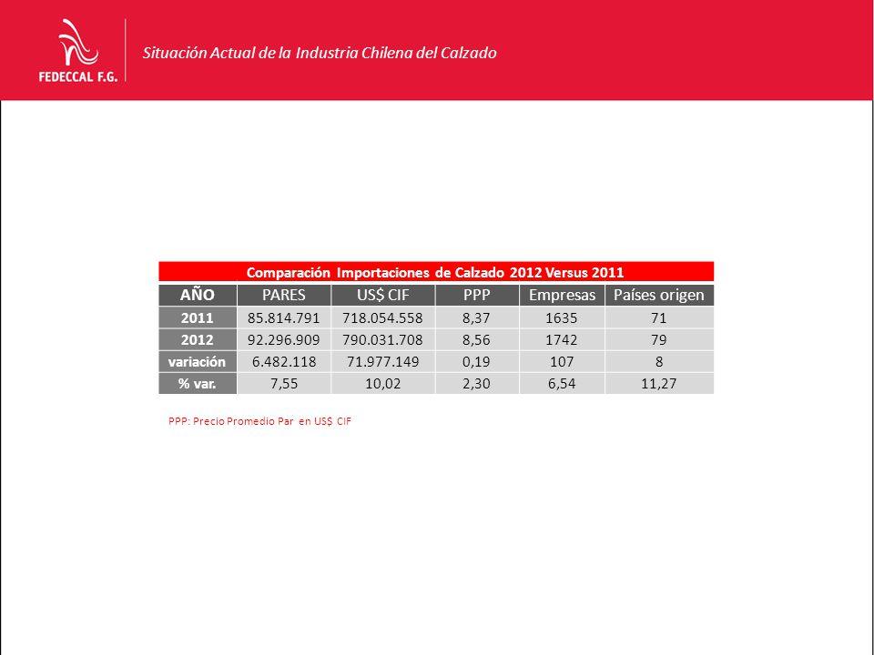 Situación Actual de la Industria Chilena del Calzado Comparación Importaciones de Calzado 2012 Versus 2011 AÑOPARESUS$ CIFPPPEmpresasPaíses origen 201185.814.791718.054.5588,37163571 201292.296.909790.031.7088,56174279 variación6.482.11871.977.1490,191078 % var.7,5510,022,306,5411,27 PPP: Precio Promedio Par en US$ CIF