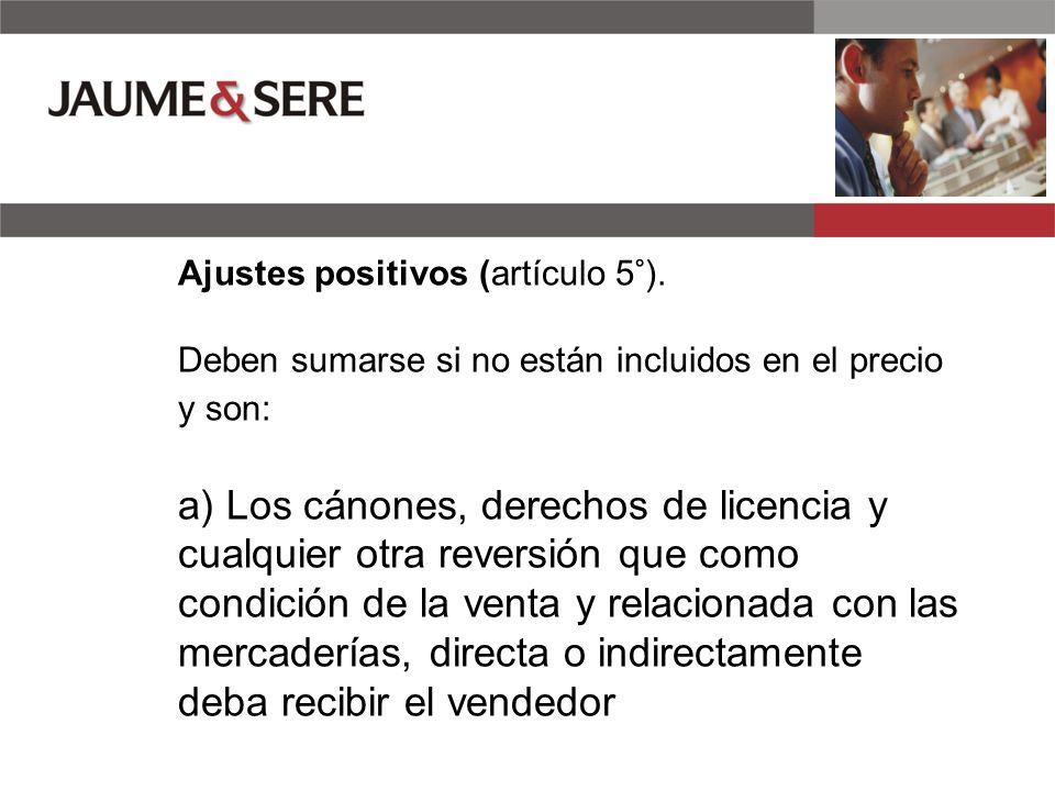 Ajustes positivos (artículo 5°).