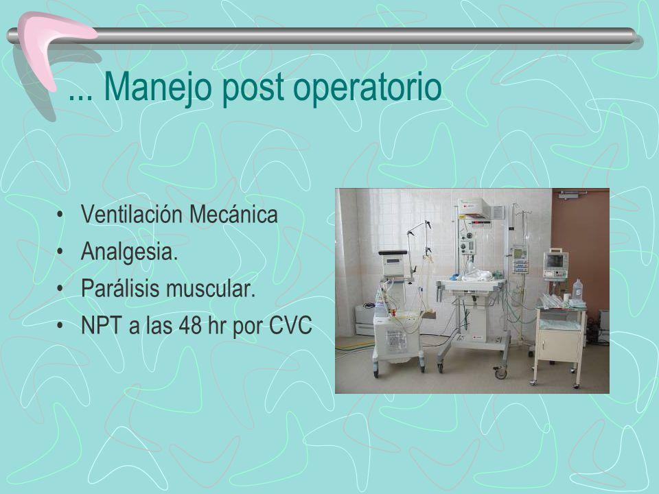 ... Manejo post operatorio Ventilación Mecánica Analgesia. Parálisis muscular. NPT a las 48 hr por CVC