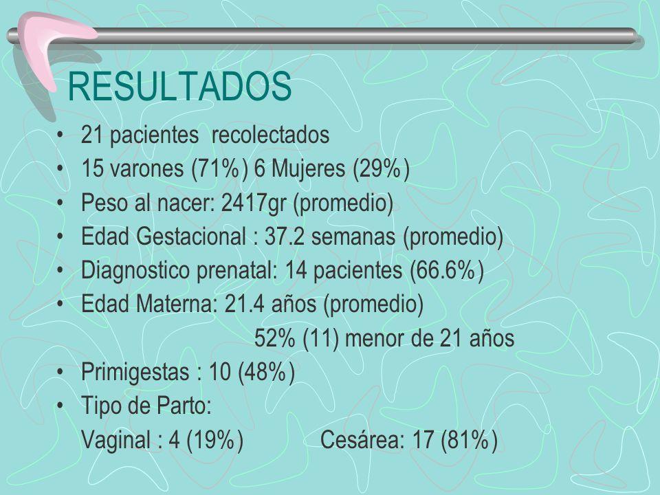 RESULTADOS 21 pacientes recolectados 15 varones (71%) 6 Mujeres (29%) Peso al nacer: 2417gr (promedio) Edad Gestacional : 37.2 semanas (promedio) Diag