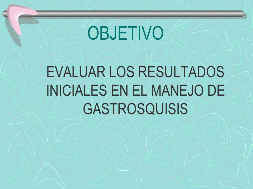 OBJETIVO EVALUAR LOS RESULTADOS INICIALES EN EL MANEJO DE GASTROSQUISIS