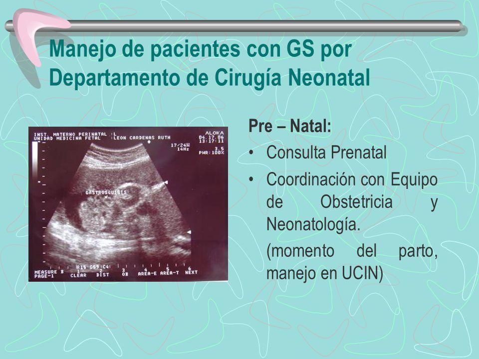 Manejo de pacientes con GS por Departamento de Cirugía Neonatal Pre – Natal: Consulta Prenatal Coordinación con Equipo de Obstetricia y Neonatología.
