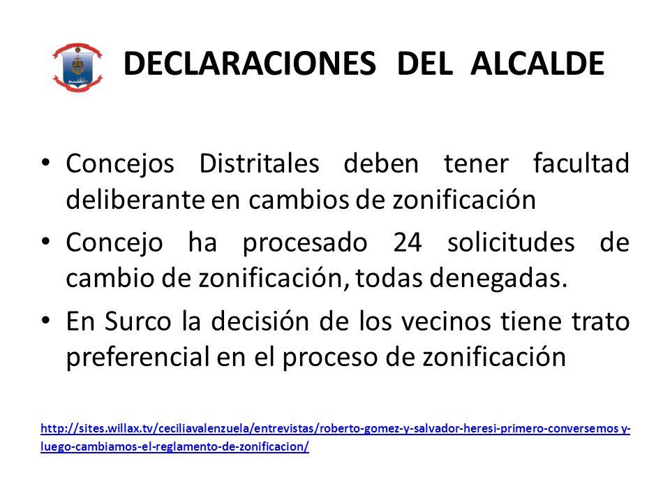 DECLARACIONES DEL ALCALDE Concejos Distritales deben tener facultad deliberante en cambios de zonificación Concejo ha procesado 24 solicitudes de cambio de zonificación, todas denegadas.