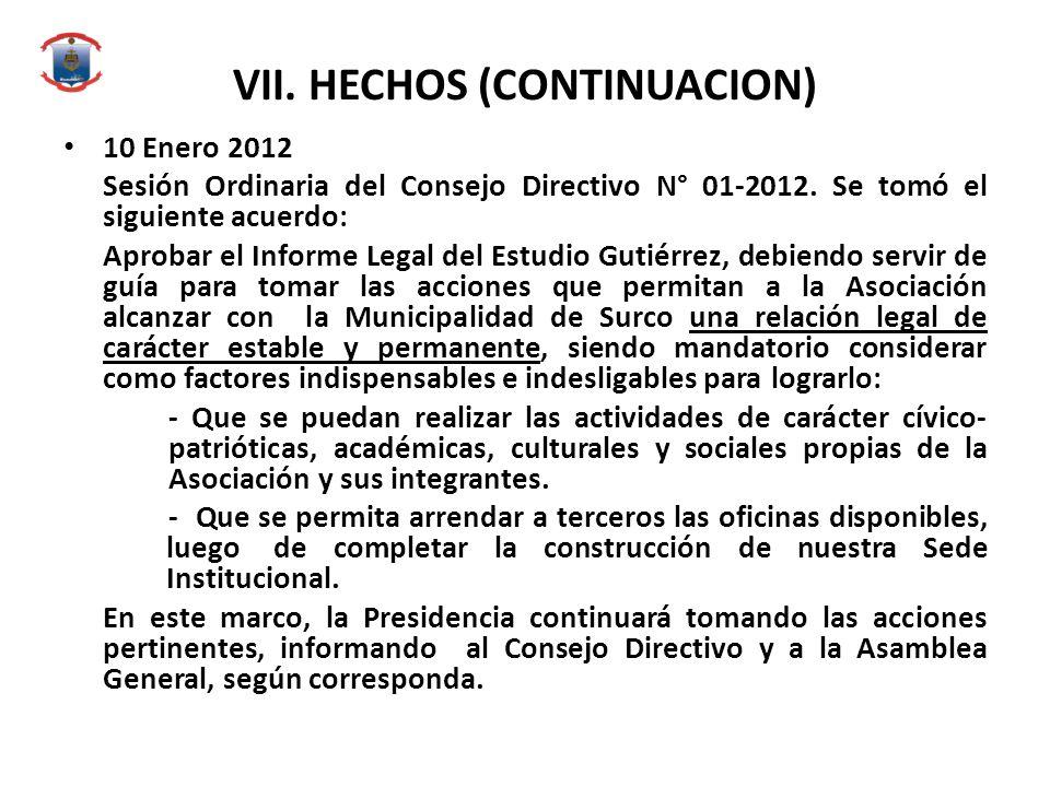 VII. HECHOS (CONTINUACION) 10 Enero 2012 Sesión Ordinaria del Consejo Directivo N° 01-2012. Se tomó el siguiente acuerdo: Aprobar el Informe Legal del