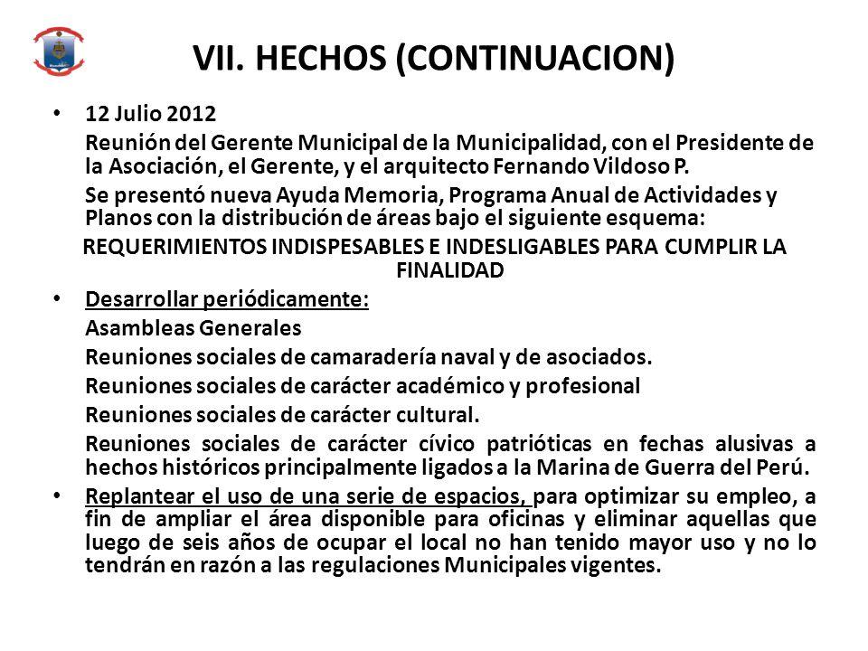 VII. HECHOS (CONTINUACION) 12 Julio 2012 Reunión del Gerente Municipal de la Municipalidad, con el Presidente de la Asociación, el Gerente, y el arqui