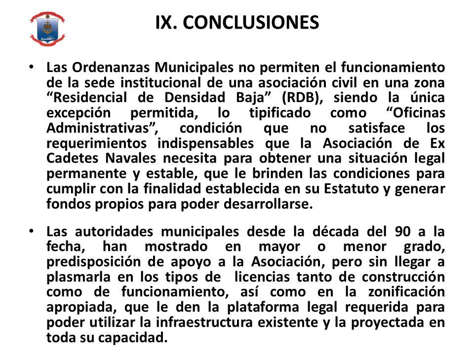 IX. CONCLUSIONES Las Ordenanzas Municipales no permiten el funcionamiento de la sede institucional de una asociación civil en una zona Residencial de