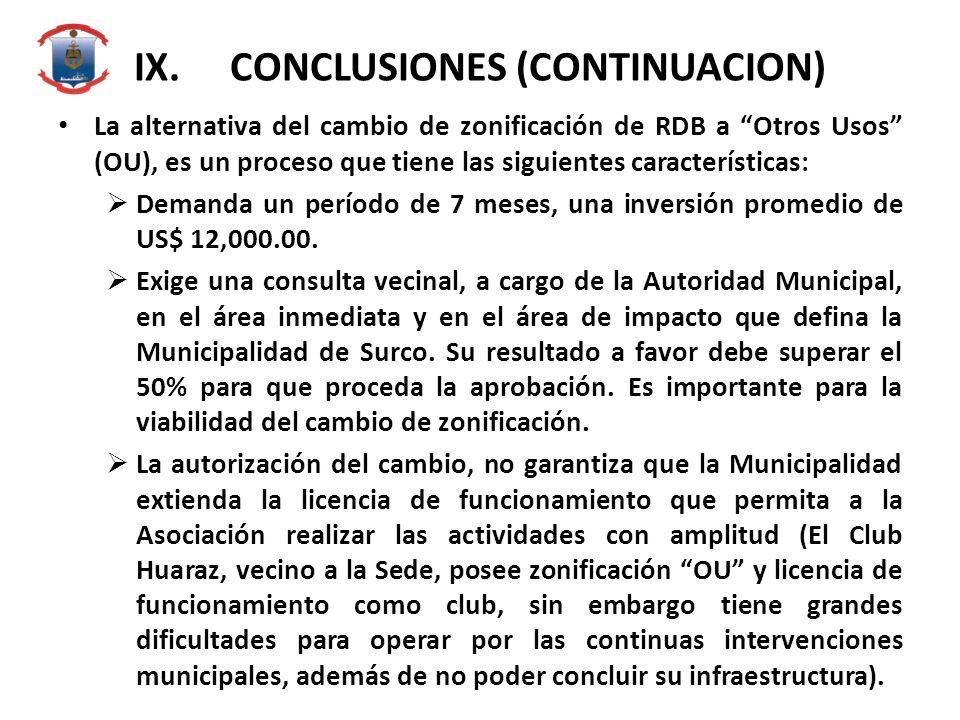 IX.CONCLUSIONES (CONTINUACION) La alternativa del cambio de zonificación de RDB a Otros Usos (OU), es un proceso que tiene las siguientes características: Demanda un período de 7 meses, una inversión promedio de US$ 12,000.00.