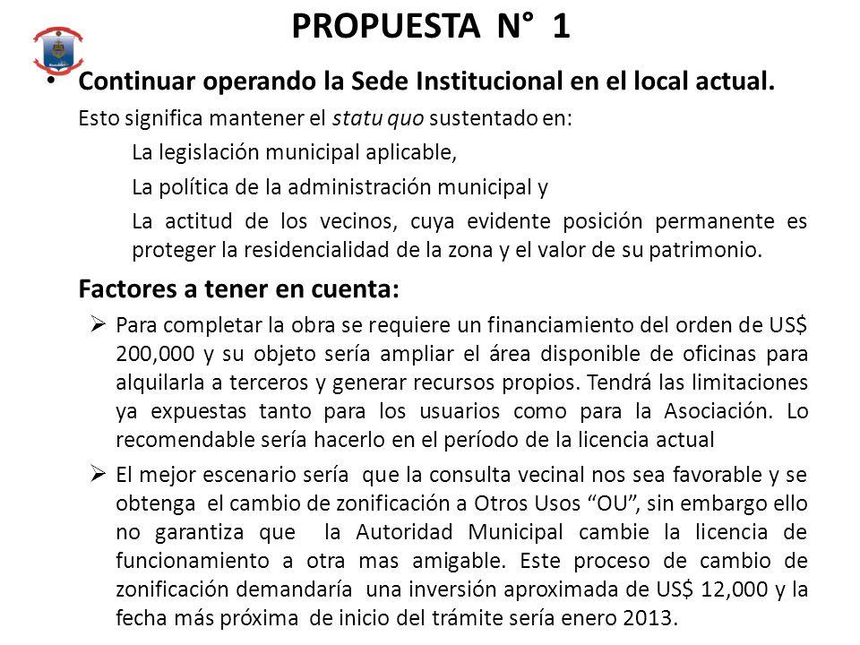 PROPUESTA N° 1 Continuar operando la Sede Institucional en el local actual.