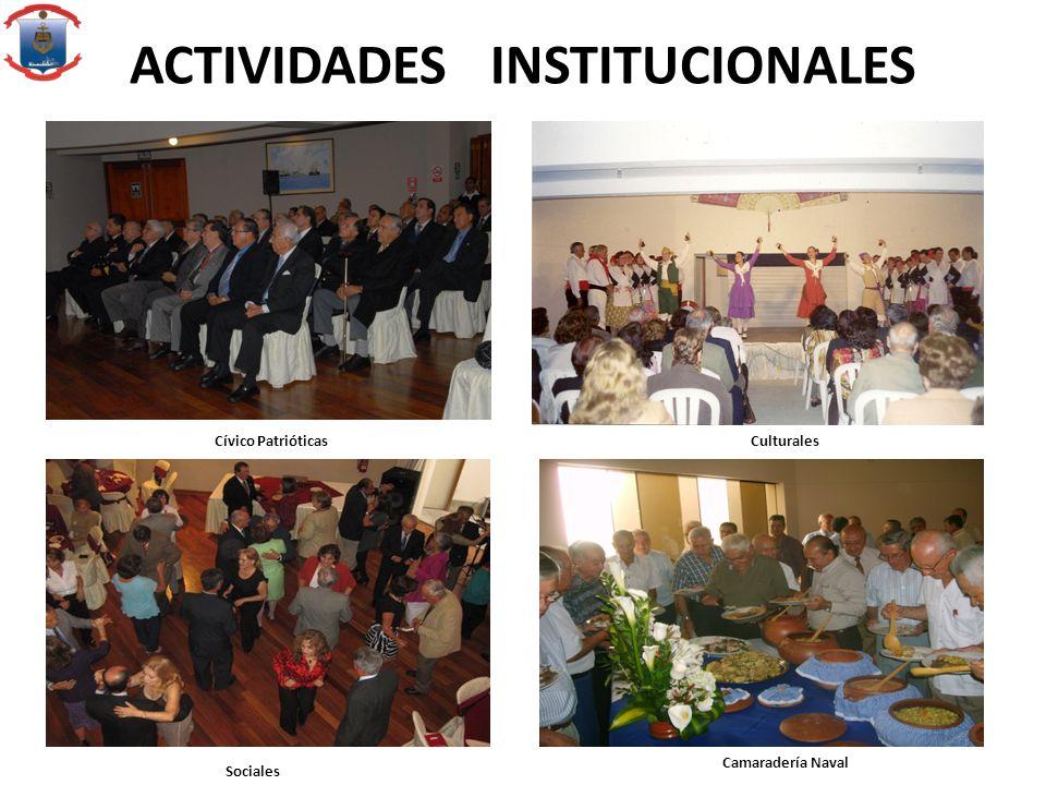 ACTIVIDADES INSTITUCIONALES Cívico Patrióticas Culturales Sociales Camaradería Naval