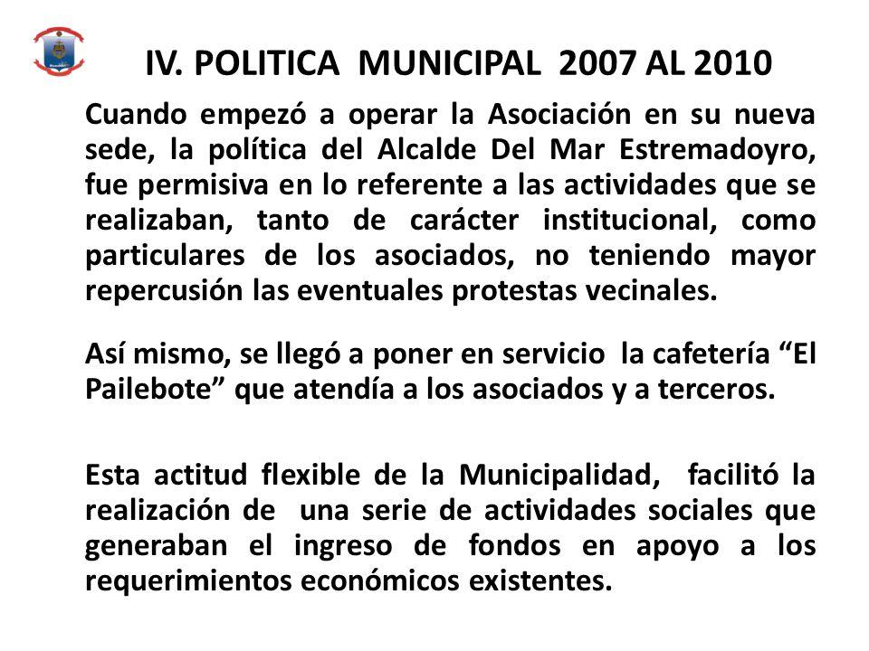 IV. POLITICA MUNICIPAL 2007 AL 2010 Cuando empezó a operar la Asociación en su nueva sede, la política del Alcalde Del Mar Estremadoyro, fue permisiva