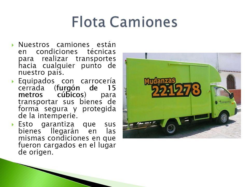 Nuestros camiones están en condiciones técnicas para realizar transportes hacia cualquier punto de nuestro país. Equipados con carrocería cerrada (fur