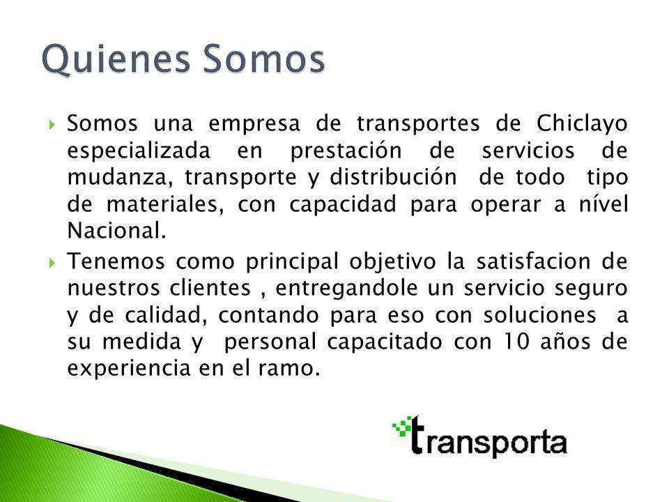Somos una empresa de transportes de Chiclayo especializada en prestación de servicios de mudanza, transporte y distribución de todo tipo de materiales