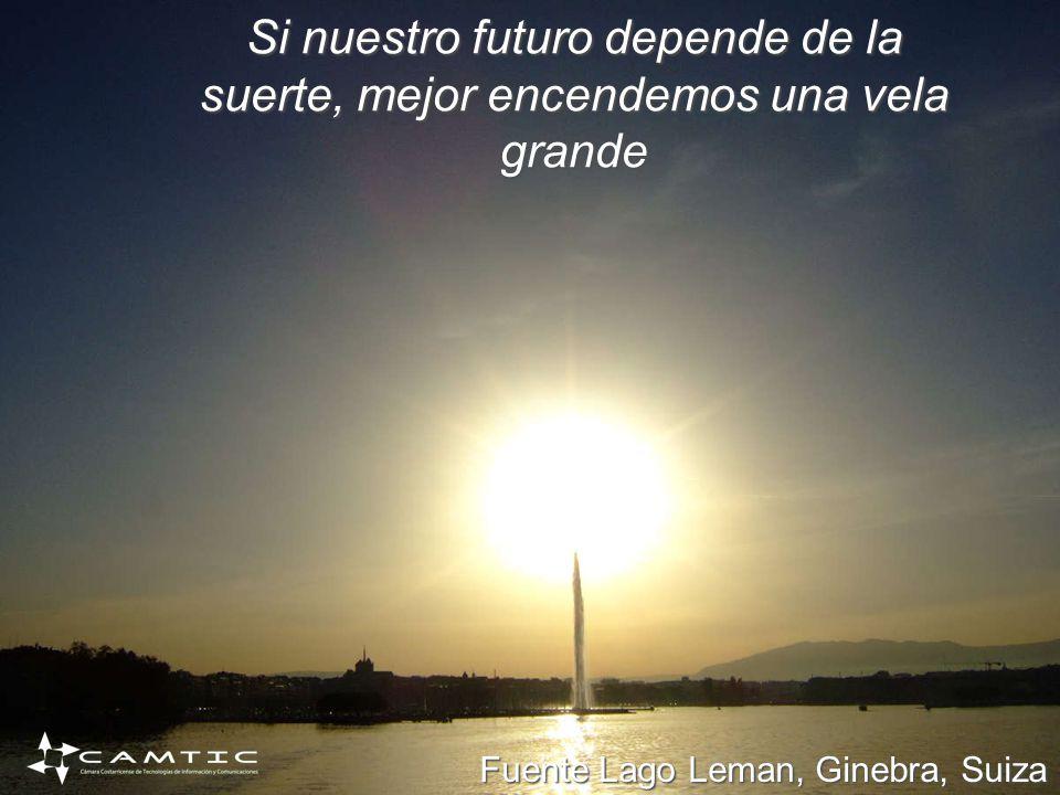 Si nuestro futuro depende de la suerte, mejor encendemos una vela grande Fuente Lago Leman, Ginebra, Suiza