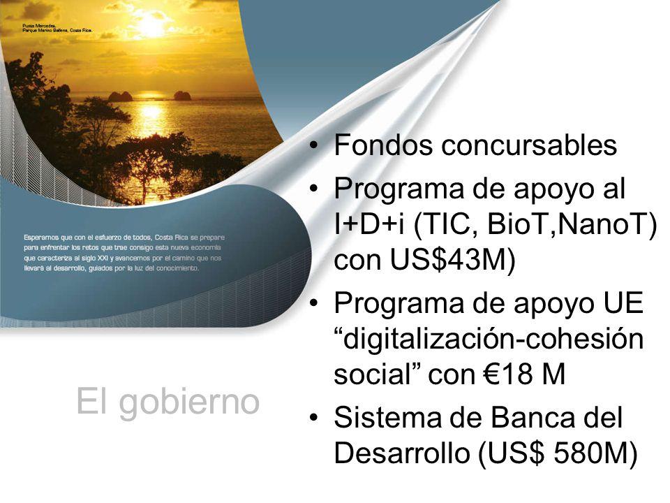 El gobierno Fondos concursables Programa de apoyo al I+D+i (TIC, BioT,NanoT) con US$43M) Programa de apoyo UE digitalización-cohesión social con 18 M Sistema de Banca del Desarrollo (US$ 580M)
