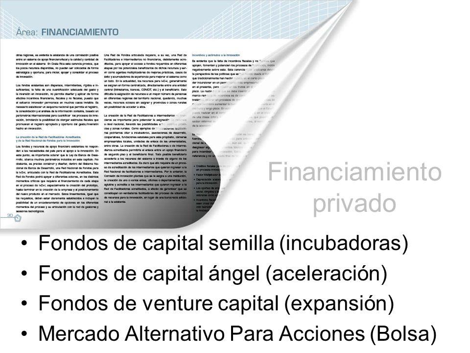 Financiamiento privado Fondos de capital semilla (incubadoras) Fondos de capital ángel (aceleración) Fondos de venture capital (expansión) Mercado Alternativo Para Acciones (Bolsa)