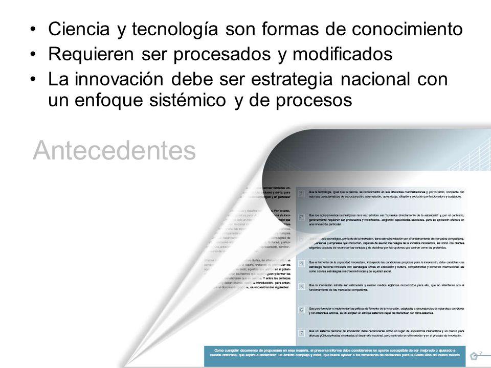 Antecedentes Ciencia y tecnología son formas de conocimiento Requieren ser procesados y modificados La innovación debe ser estrategia nacional con un