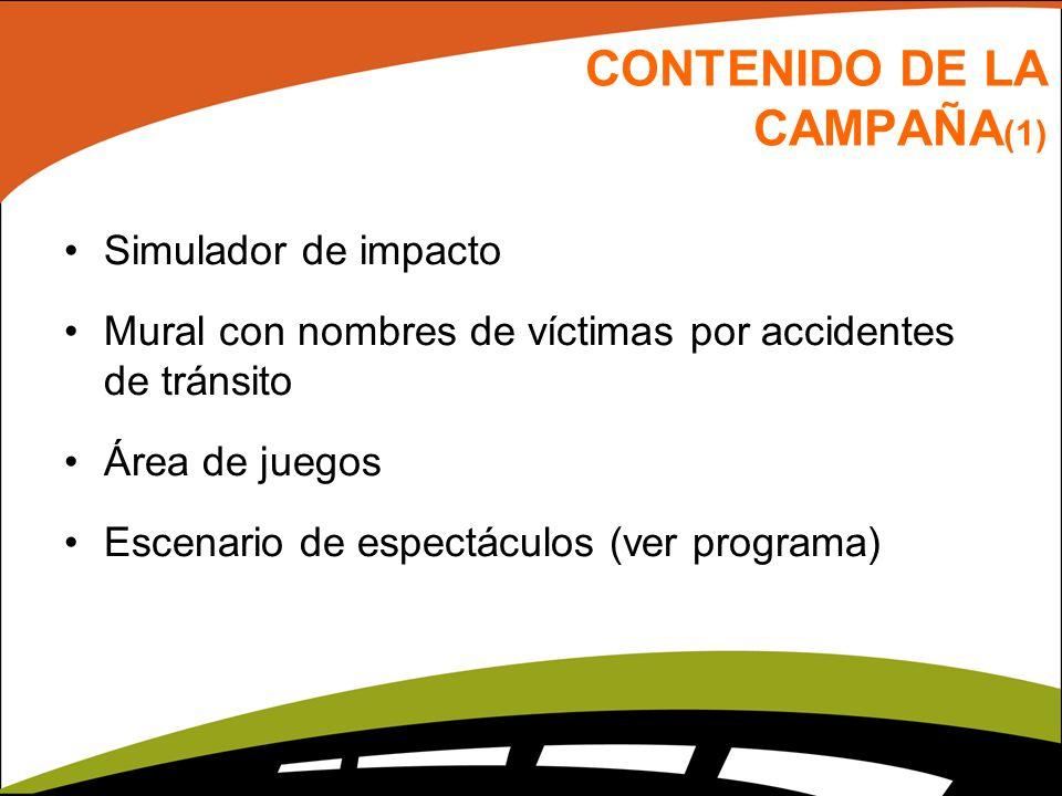 CONTENIDO DE LA CAMPAÑA (1) Simulador de impacto Mural con nombres de víctimas por accidentes de tránsito Área de juegos Escenario de espectáculos (ve