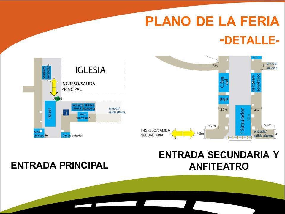 PLANO DE LA FERIA - DETALLE- ENTRADA SECUNDARIA Y ANFITEATRO ENTRADA PRINCIPAL