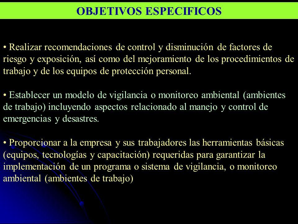 Realizar recomendaciones de control y disminución de factores de riesgo y exposición, así como del mejoramiento de los procedimientos de trabajo y de